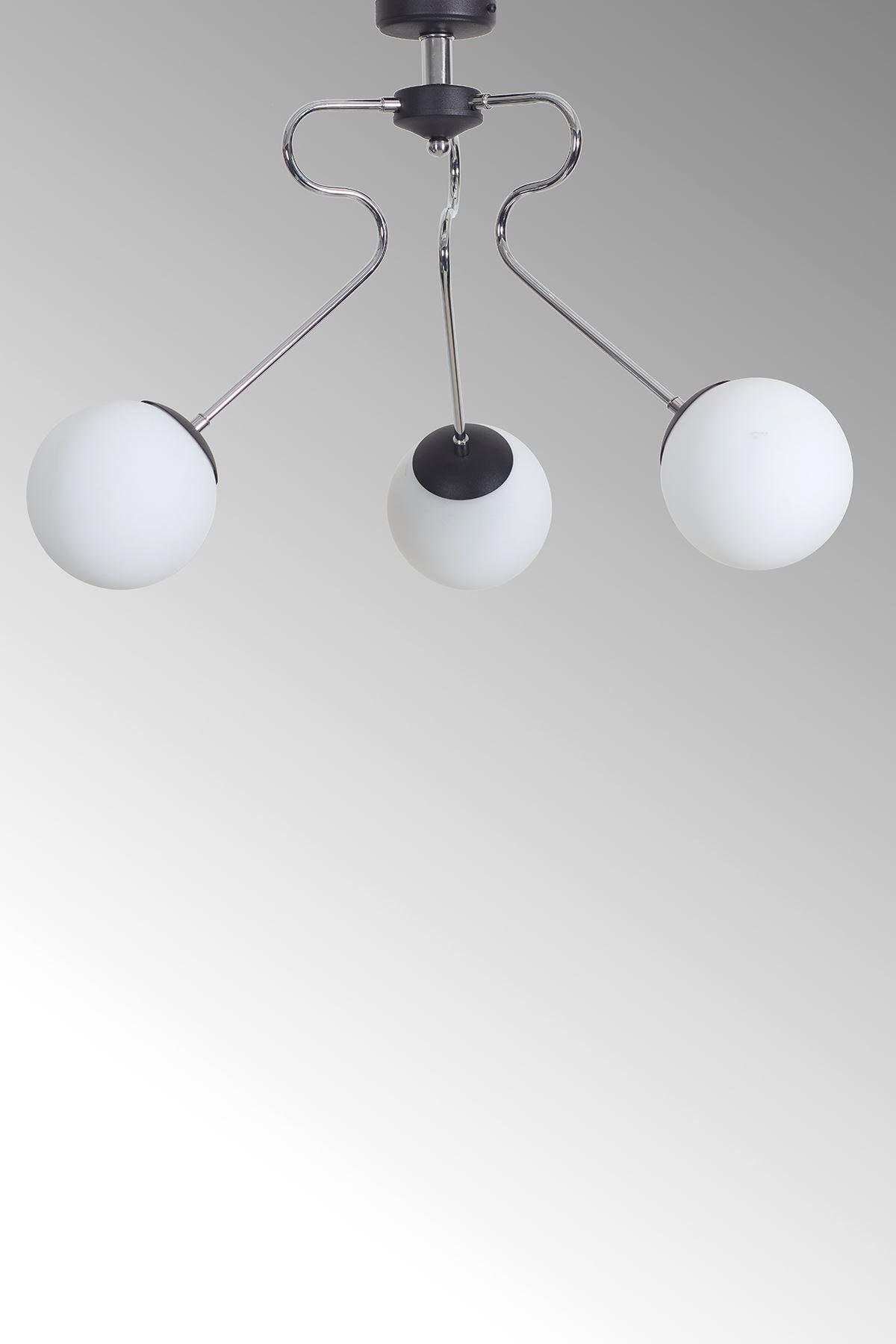 Dominik 3 Lü Krom Kollu-Siyah Metal Gövde Beyaz Camlı Tasarım Lüx  Avize