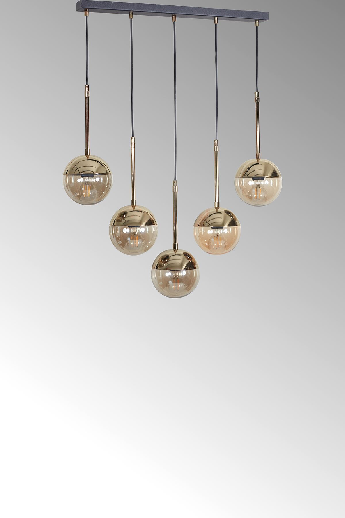 Roza 5 Li Gold-Siyah Metal Gövde Bal Rengi Camlı Tasarım Lüx Sarkıt Avize