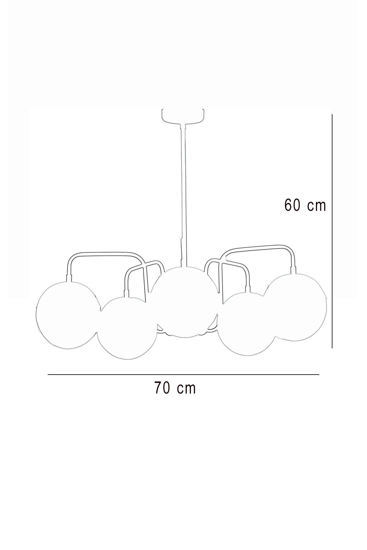 Siesta 5 Li Krom-Siyah Metal Gövde Beyaz Camlı Tasarım Lüx  Avize