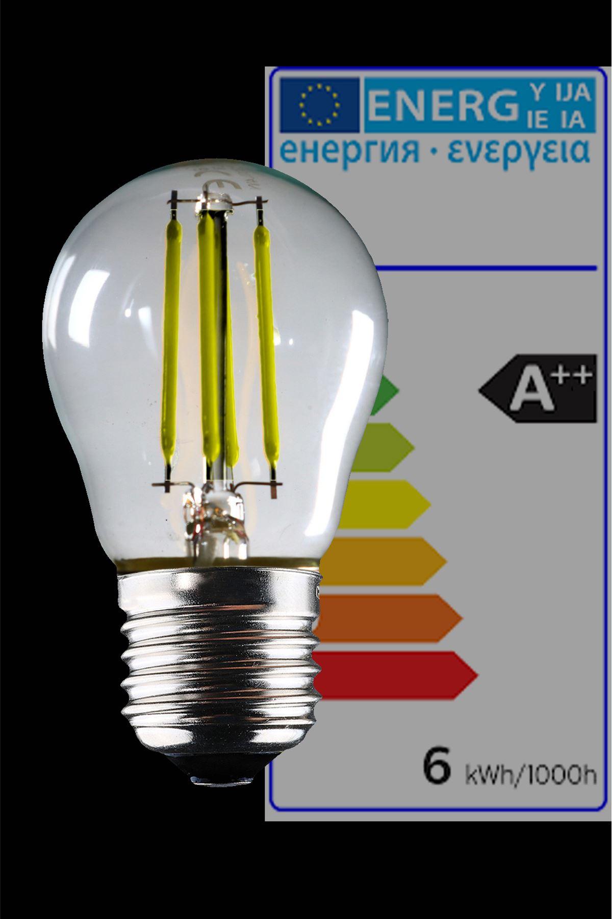 Luzarana  E27 G45  6 Watt Beyaz Işık Standart Tip Filament Edison Tip Rustik LED Top Ampül (Heka)